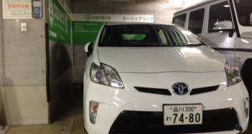A Careco Toyota Prius: The parking brake is a foot pedal - this information will save you 5 to 10 minutes