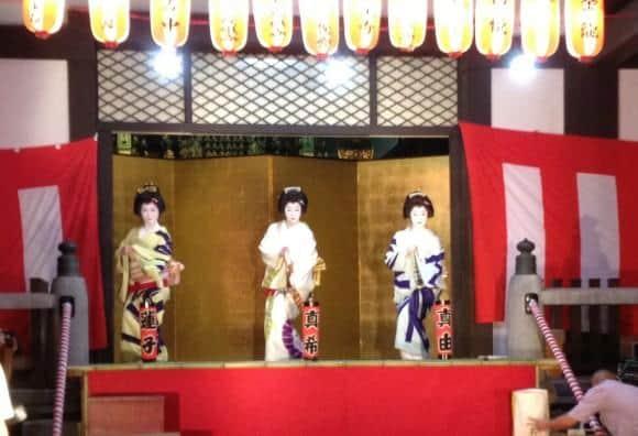 Maiko perform at a Matsuri in Tokyo
