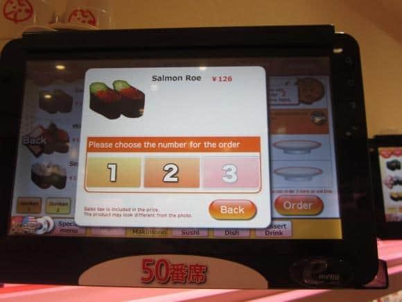 Genki Sushi Ordering menu