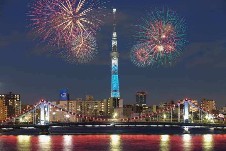 summer fireworks in Tokyo
