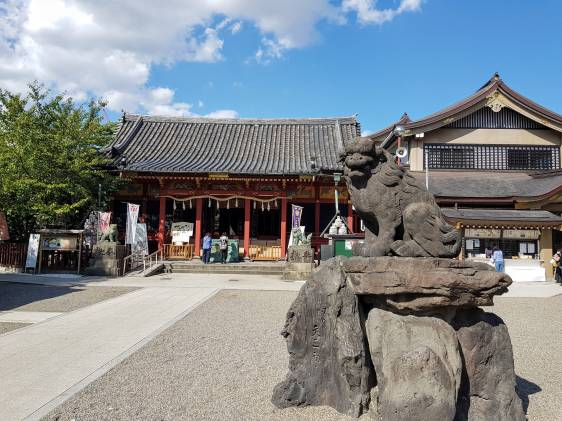 Asakusa Shrine and guard dog statue