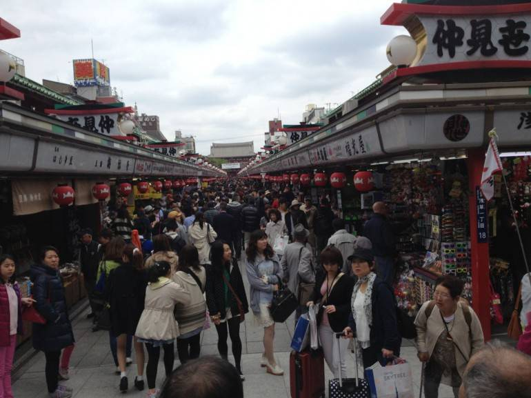 The shopping street at Sensoji.