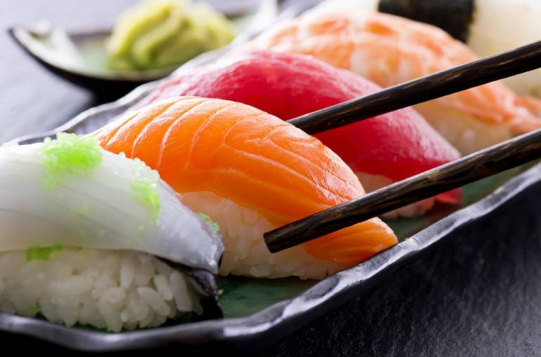 Sushi pic via Shutterstock.