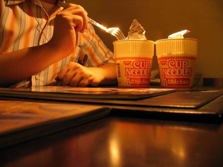Cup noodles for two. Even we aren't that cheap. Pic by ValMan, used under Creative Commons.