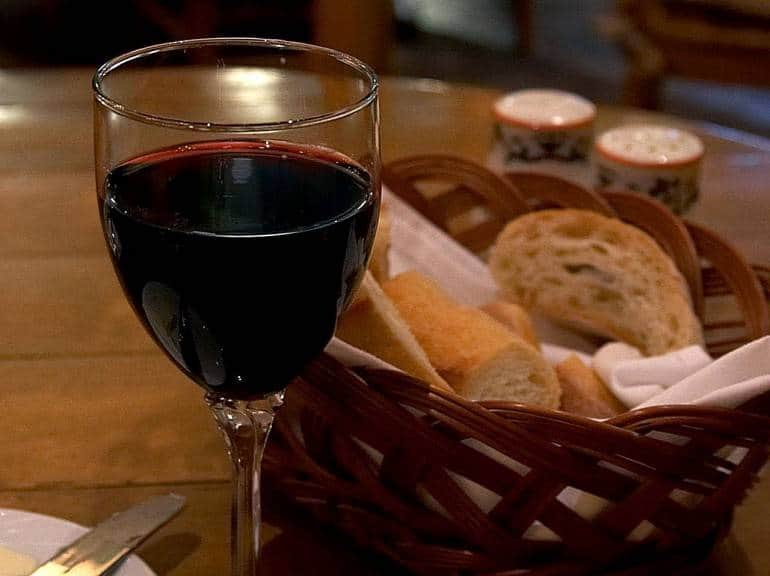 Red wine in an Italian restaurant