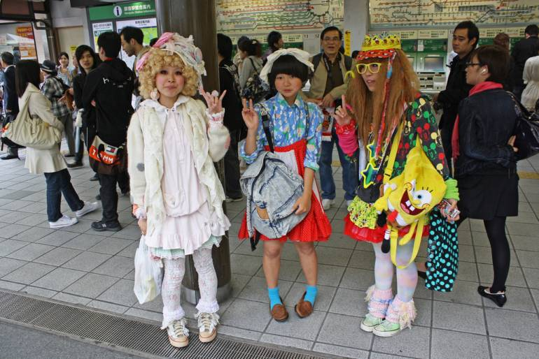 Harajuku fashion girls at station
