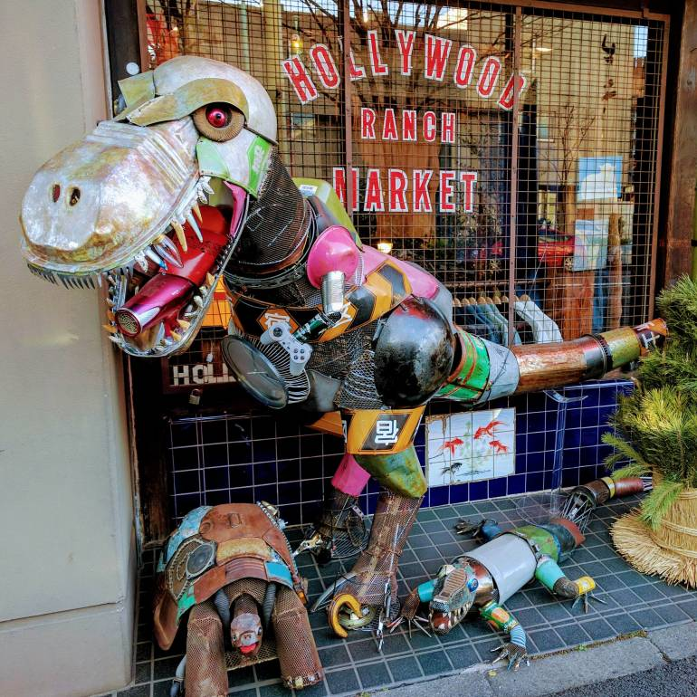 T-Rex and friends - Art Junk Sculptures outside shop in Daikanyama