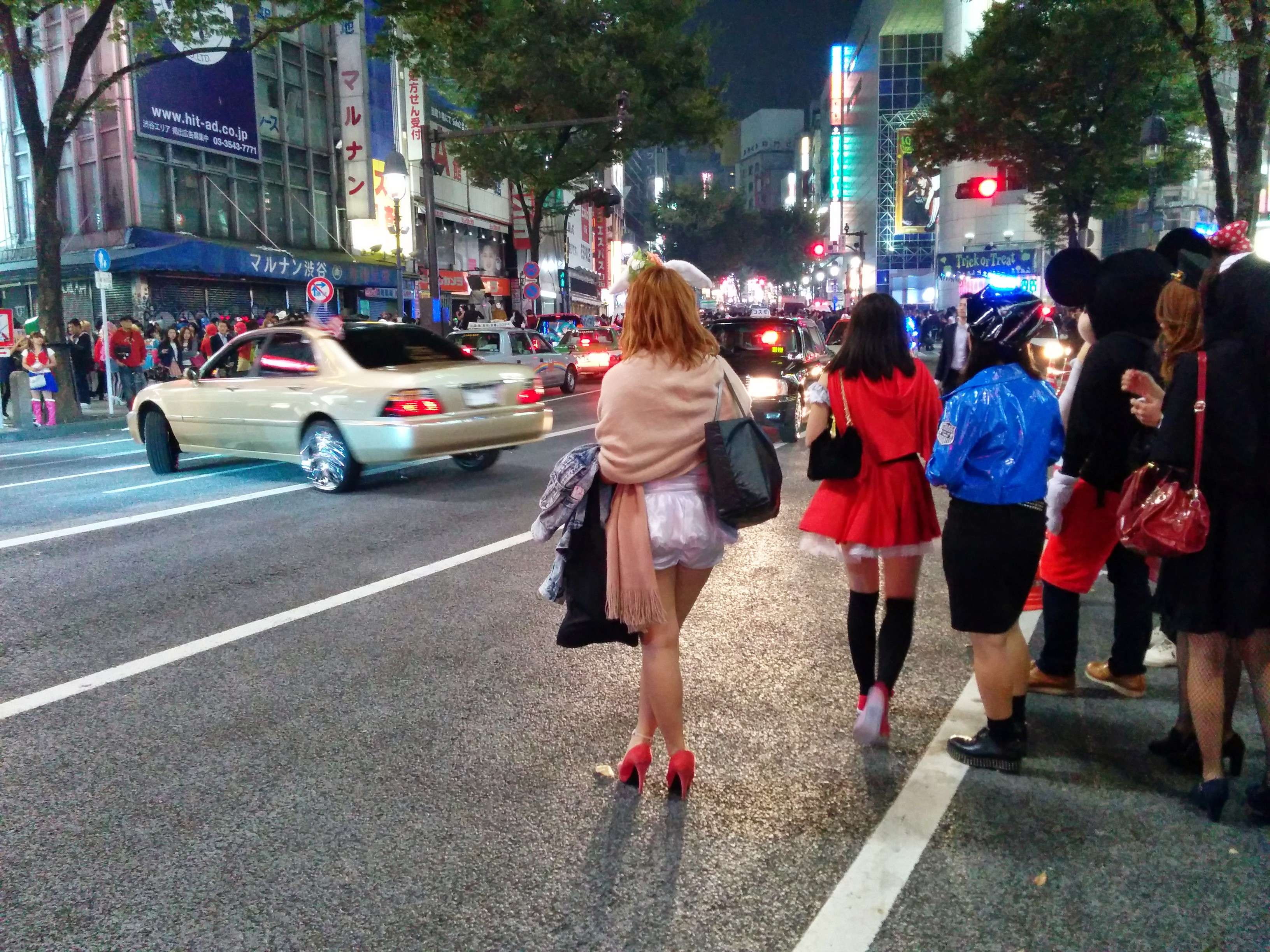 Shibuya Halloween 2014 woman and car