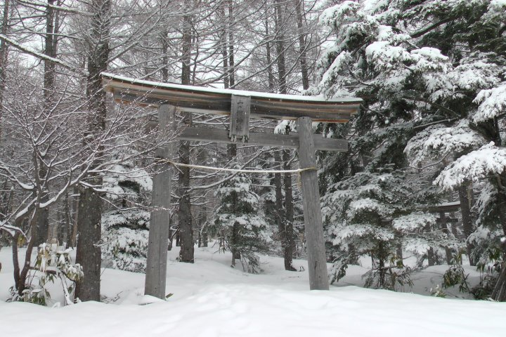 A shrine in Shiga Kogen. The area is one of the best places for snowboarding near Tokyo.