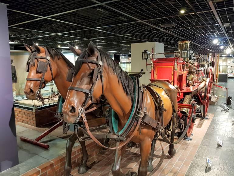 Horse drawn fire wagon