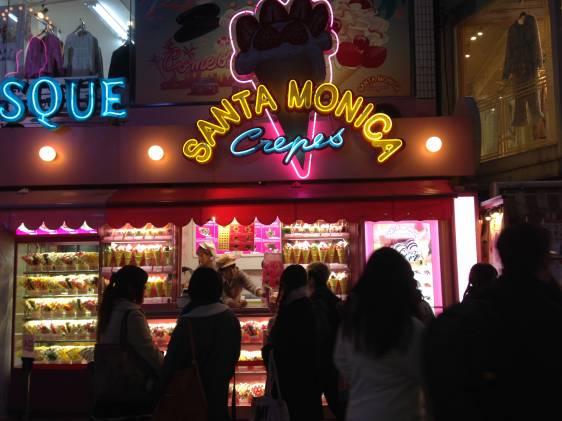 Santa Monica crepes storefront in Harajuku