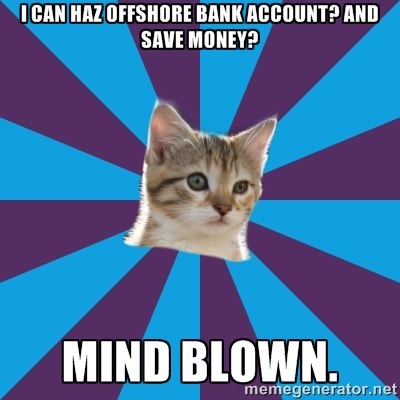 Click the kitten to open an offshore bank account today