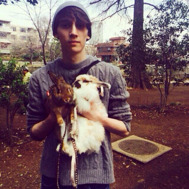 aaron and his pet rabbits for Pets in Tokyo