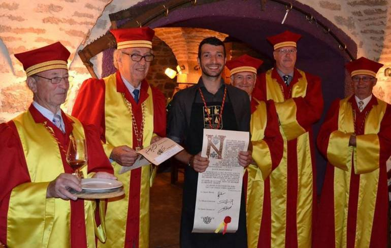 Brice knighted as Chevalier de la Commanderie des Nobles Vins du Jura et du Comté