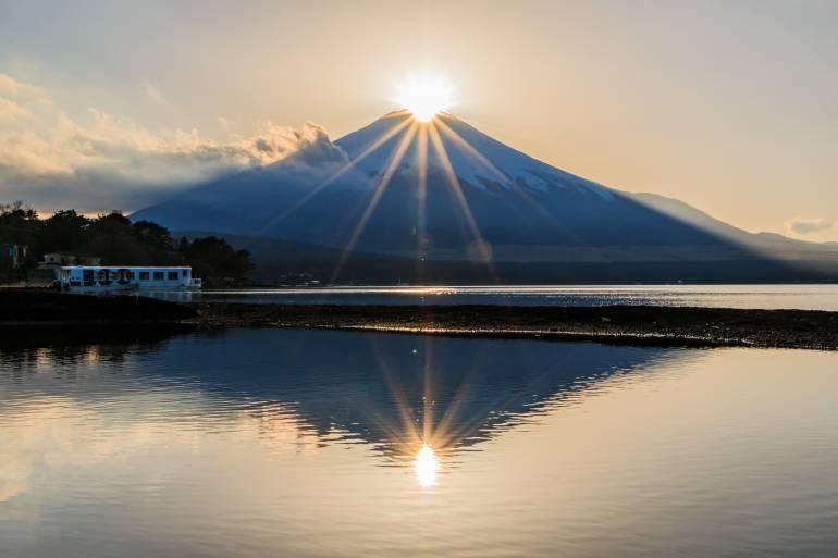 Diamond Fuji reflected in Lake Yamanaka