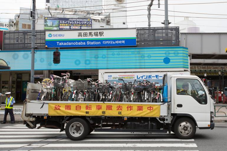 illegal bicycle parking collection truck
