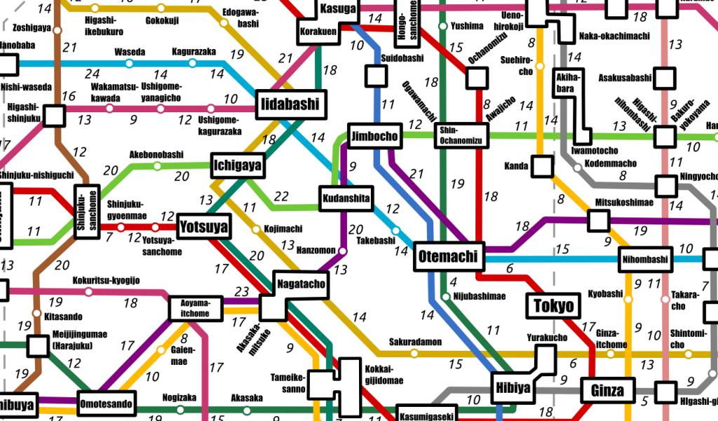Tokyo Subway Maps.The Tokyo Subway Map By Walking Times Tokyo Cheapo