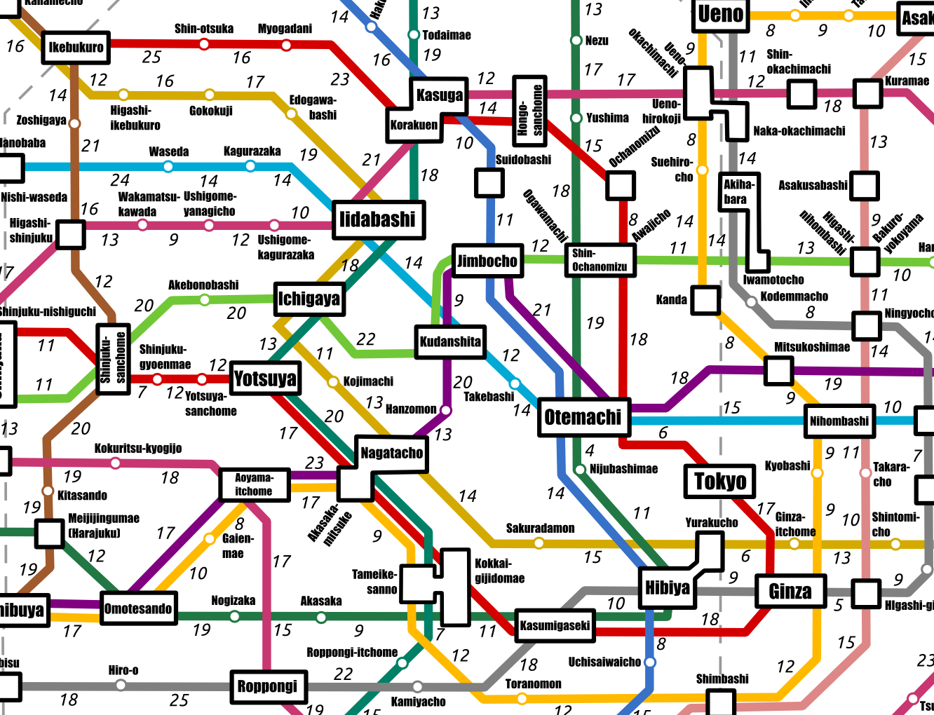 The Tokyo Subway Map by Walking Times Tokyo Cheapo