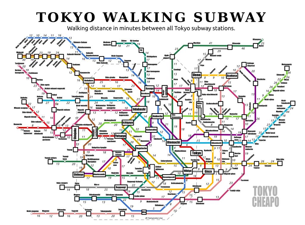 The Tokyo Cheapo Walking Subway Map Tokyo Cheapo - Japan underground map