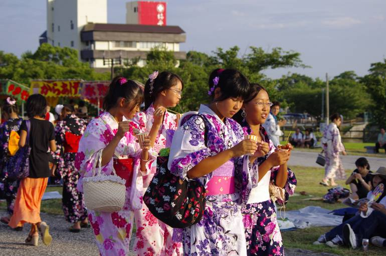 traditional yukata outfit at Japanese summer festival