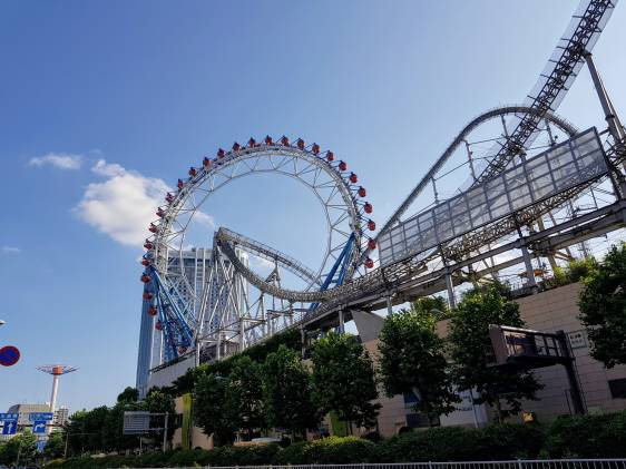 Rollercoaster and ferris wheel at Tokyo Dome