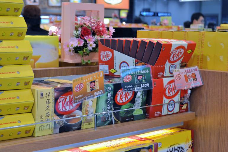 Some of the unusual KitKat flavours available in Japan.