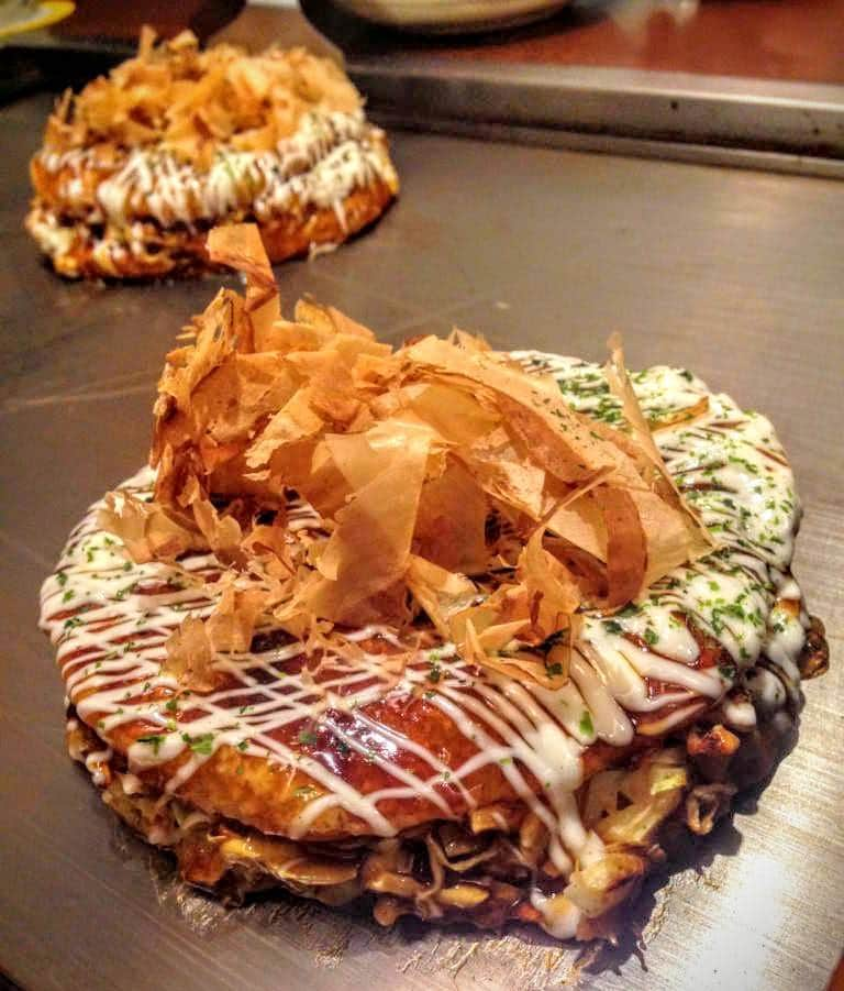 Japanese seafood dishes - okonomiyaki
