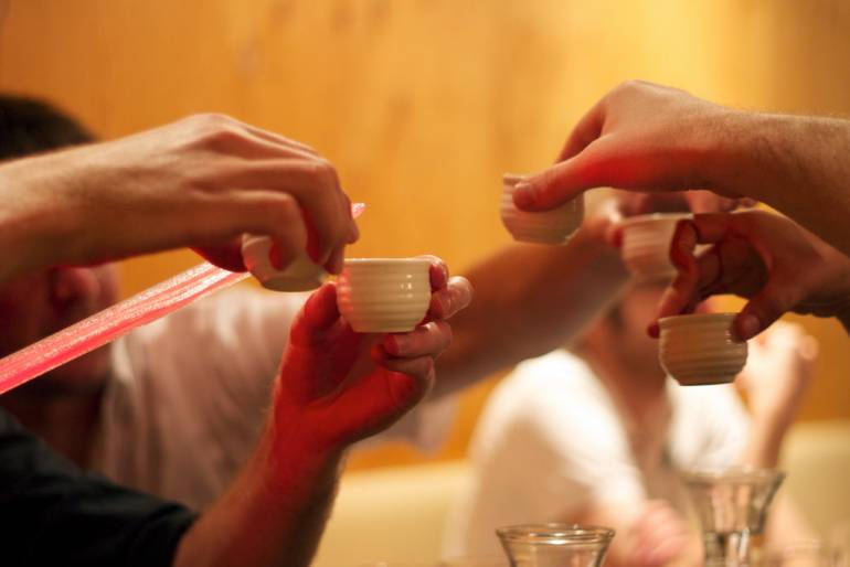 kampai drinking in japan