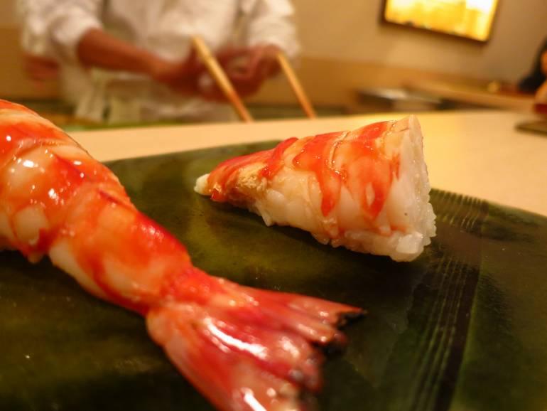 Prawn sashimi in Tokyo.