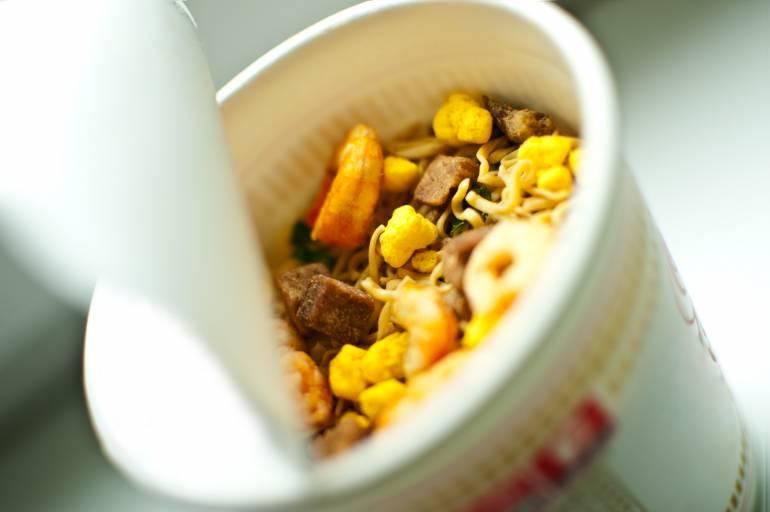 a cup of noodle soup