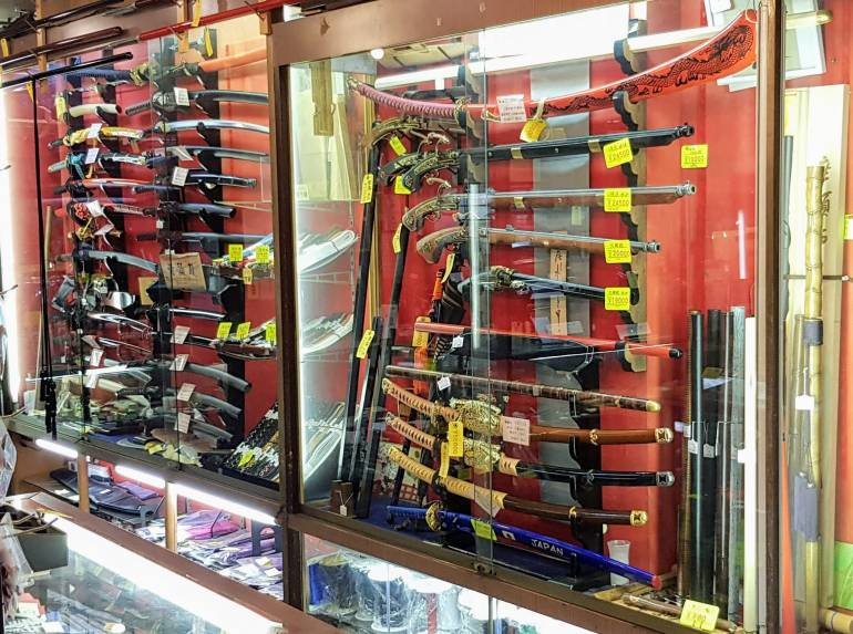 Swords and vintage guns