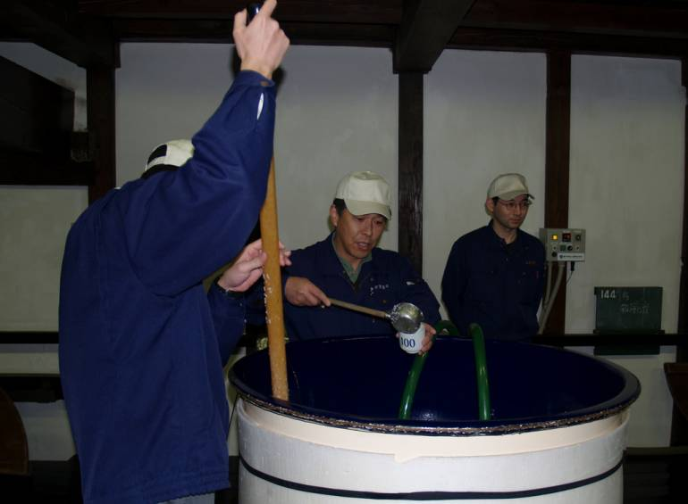 Brewing up some sake.