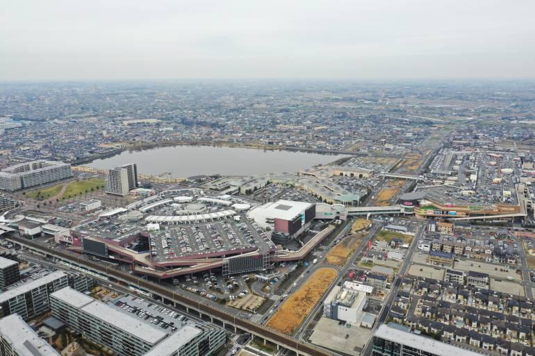 Aerial view of Koshigaya Laketown