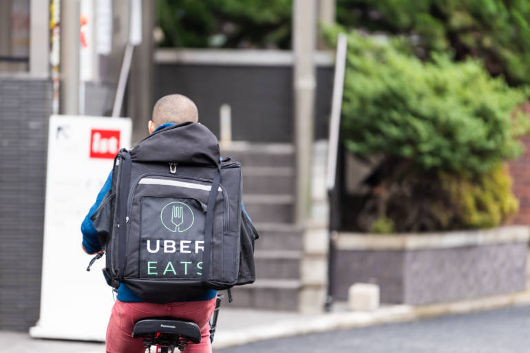 Uber Eats delivery in Shibuya, Tokyo
