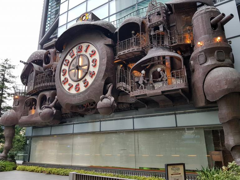 Giant Ghibli Clock from the side