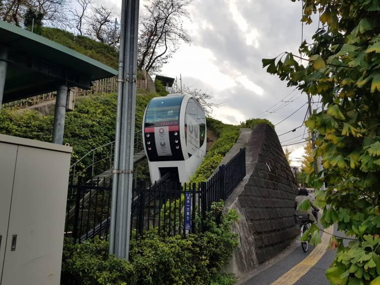 The Asukayama Park Monorail climbs the hill