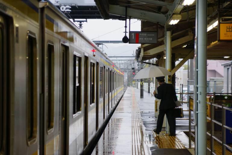 Rainy Awa-Kamogawa Station platform