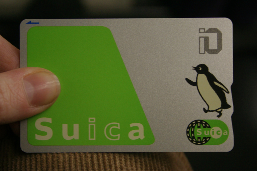 Suica card in hand