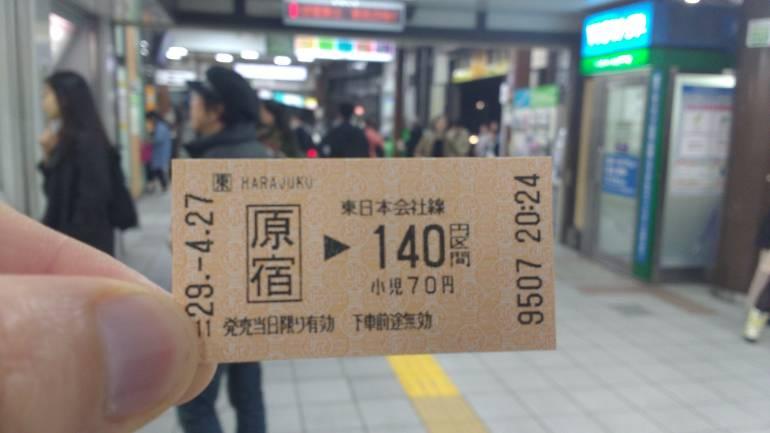 JR Tokyo train ticket