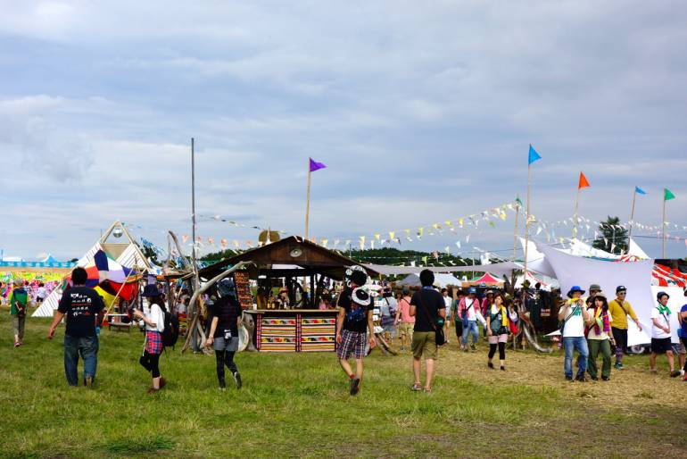 Rising Sun Rock Festival attendees in field