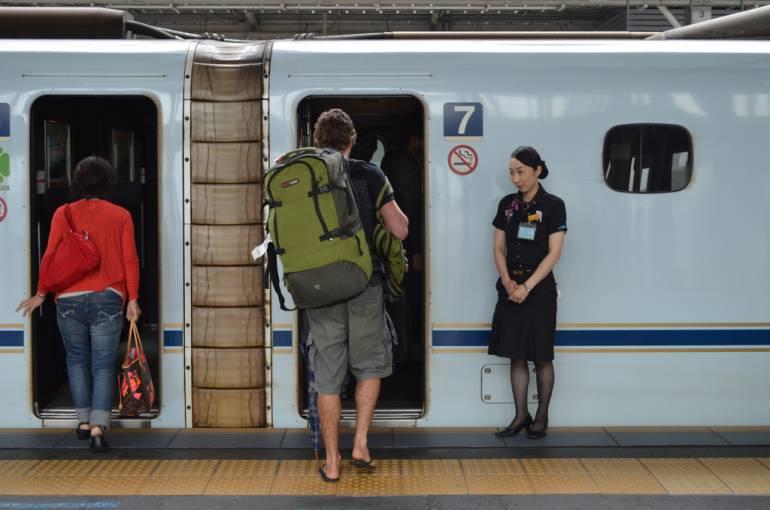 Man boarding a shinkansen