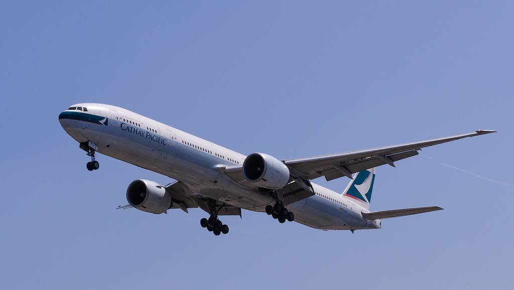 Cathay Pacific plane in flight
