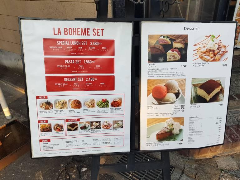 La Boheme menu