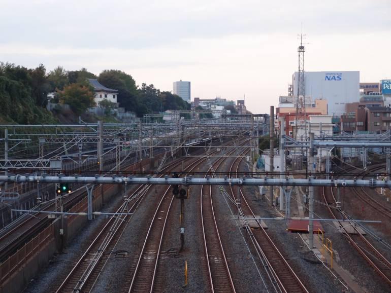 Train tracks at Nippori Station