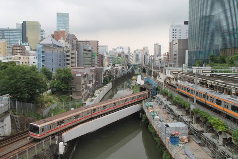 Ochanomizu Station view of trains from above