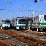 Trains lined up at Tokyo depot