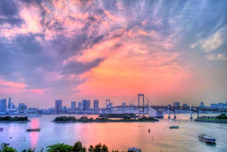 Rainbow Bridge Odaiba Sunset