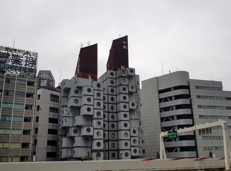 Nakagin Capsule Tower from Shiodome Siosite