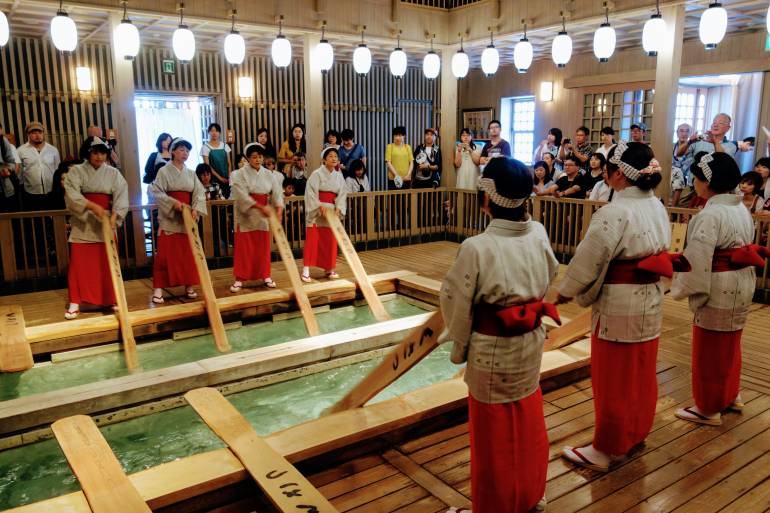 kusatsu women Kusatsu hot spring has once again topped the rankings of japan's best  the  ceremony sees a troupe of women in local dress demonstrate the.