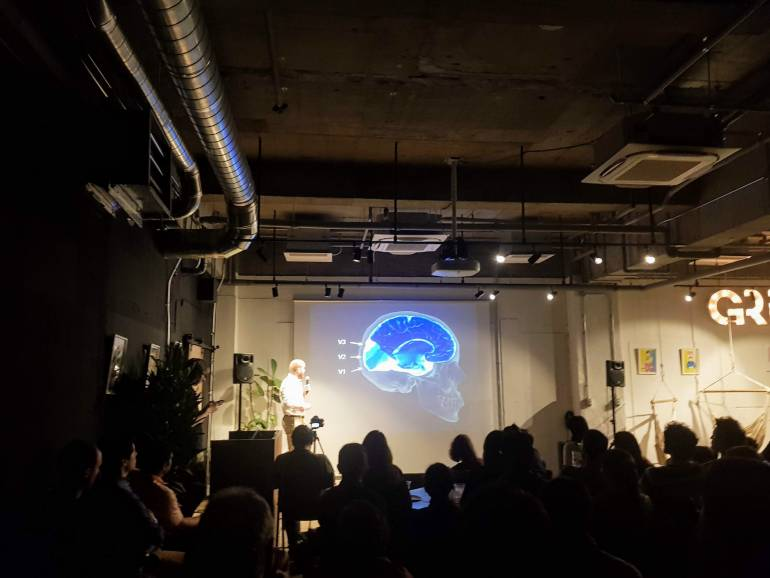 A Nerd Nite event on in the basement of GRiD